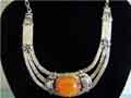 Unique Elegant Vintage Tibetan Silver Big Beeswax Amber Necklace