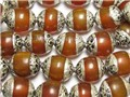 Wholesale 10 Big Tibetan Sterling Silver Beeswax Amber Beads